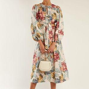 zimmermann Kali floral-print tie-waist linen dress